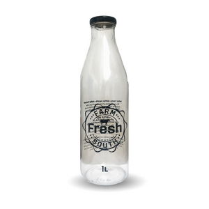 Empty 1 Litre Glass Reusable Bottle - Printed for Raw Milk Deliveries Only