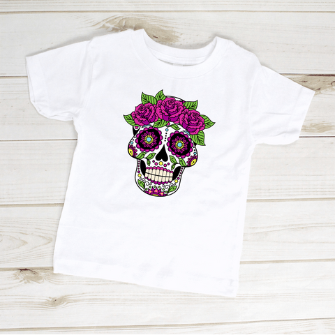 Image of Sugar Skull Flowers Dia De Los Muertos Toddler Shirt