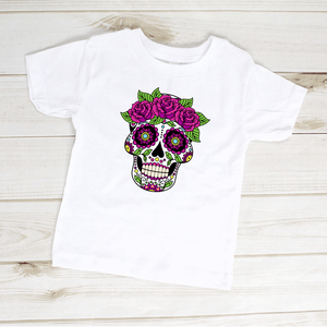 Sugar Skull Flowers Dia De Los Muertos Toddler Shirt