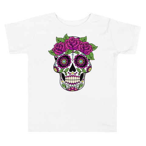 Image of Toddler Shirt - Sugar Skull Flowers Dia De Los Muertos