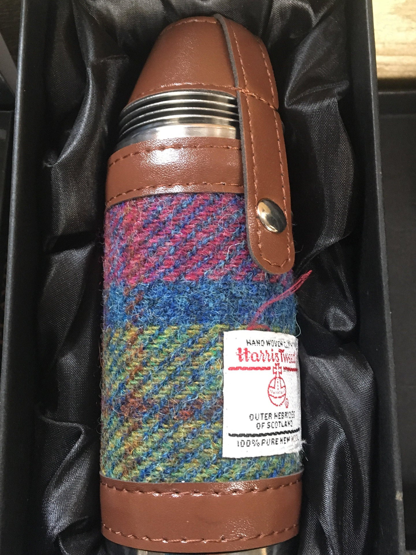 Harris Tweed 8oz Hunting Flask in Multi-Coloured Check