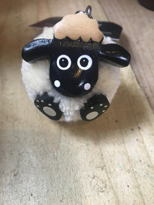 Sheep Pom Pom keyring - The Oyster Shed