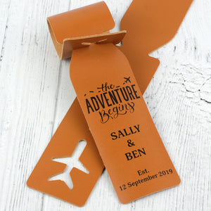 adventure begins luggage tag