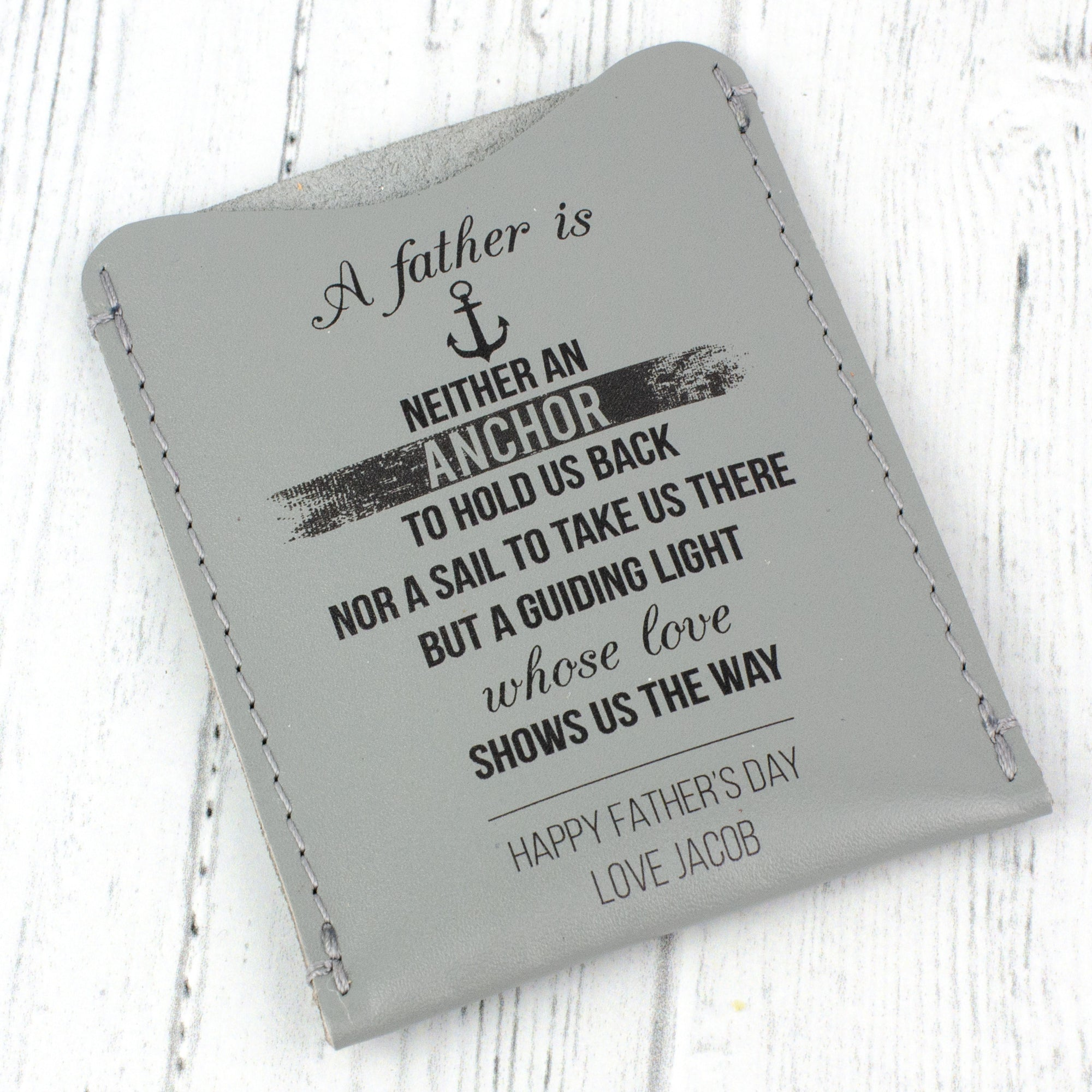 Guiding Light Father's Day Leather Card Sleeve