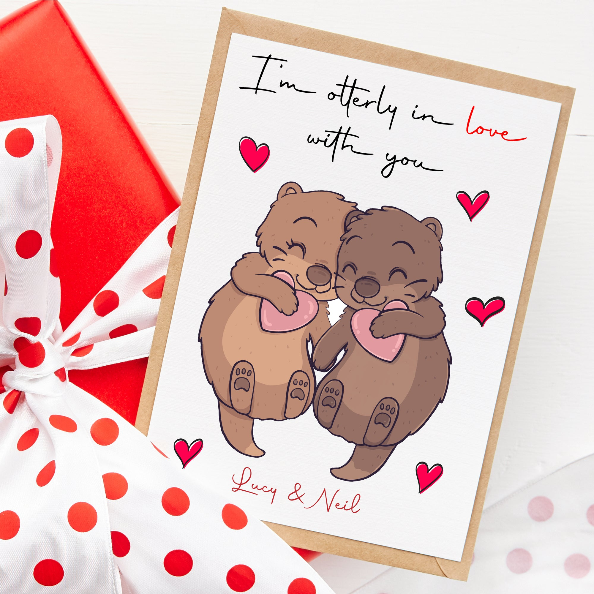 otters in love card