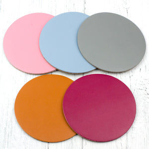round leather coaster colours