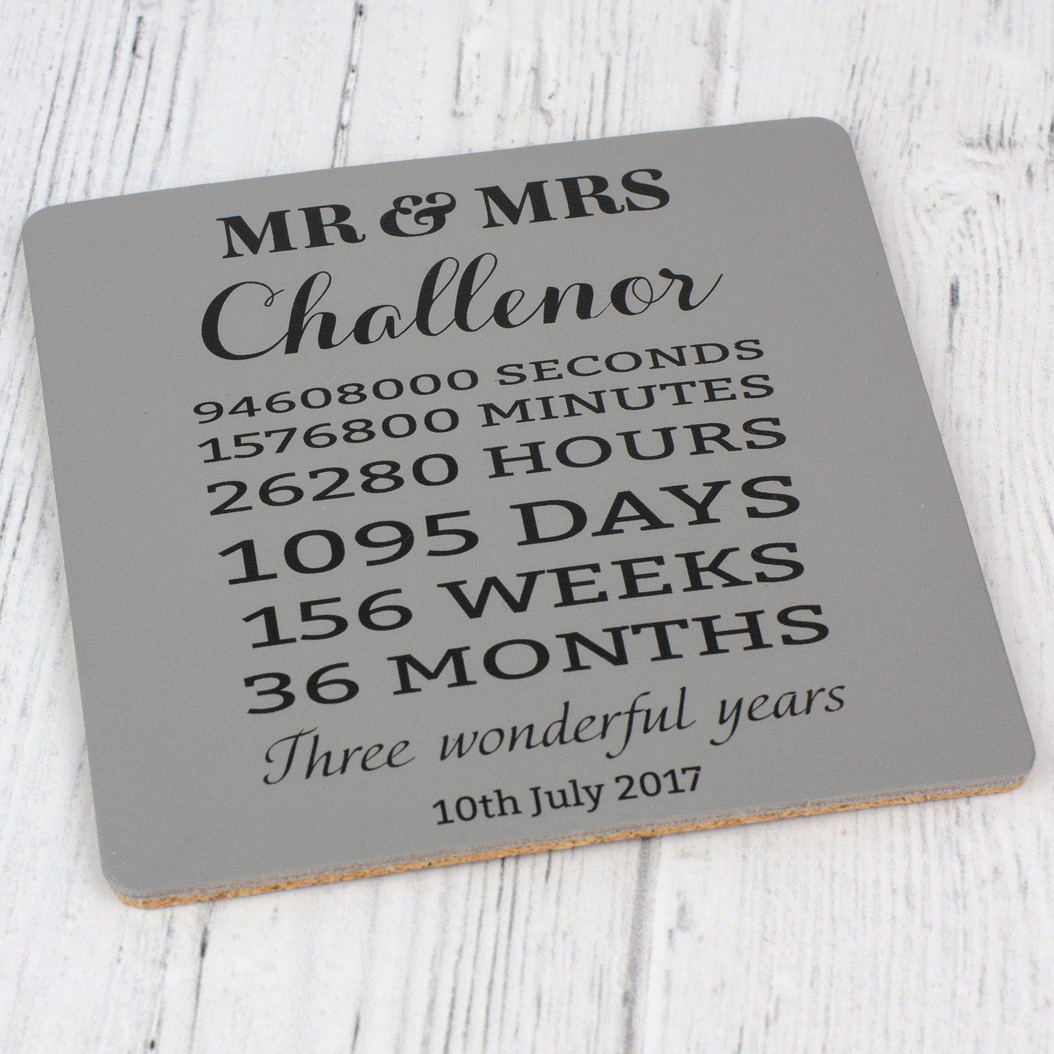 Third Wedding Anniversary Personalised Leather Coaster The Tiny Gift Company