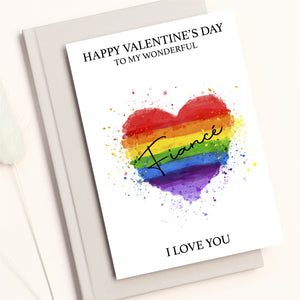 LGBTQ+ Pride Heart Valentines Card For Wife, Husband, Girlfriend, Boyfriend, Fiance