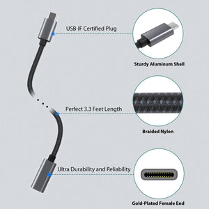USB Type C Extension Cable  (3.3 Ft, Braid)