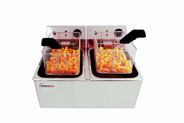 Kitchenway- Automatic Electric Fryer, 2 Basquet, 32 Lb, 8 Galons, Stainless Steell