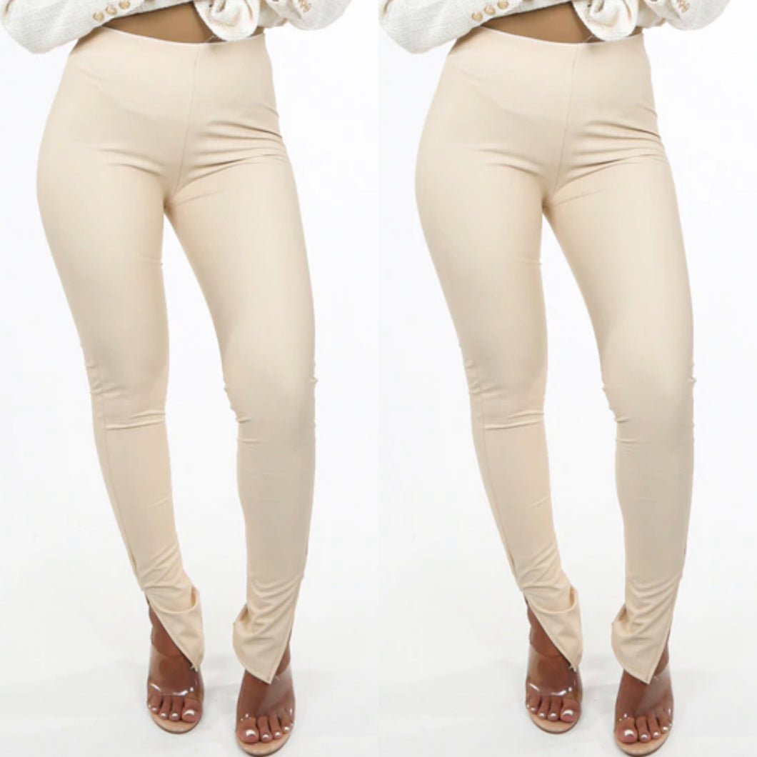 'Maisie' PU Slit Leggings (2 colours)