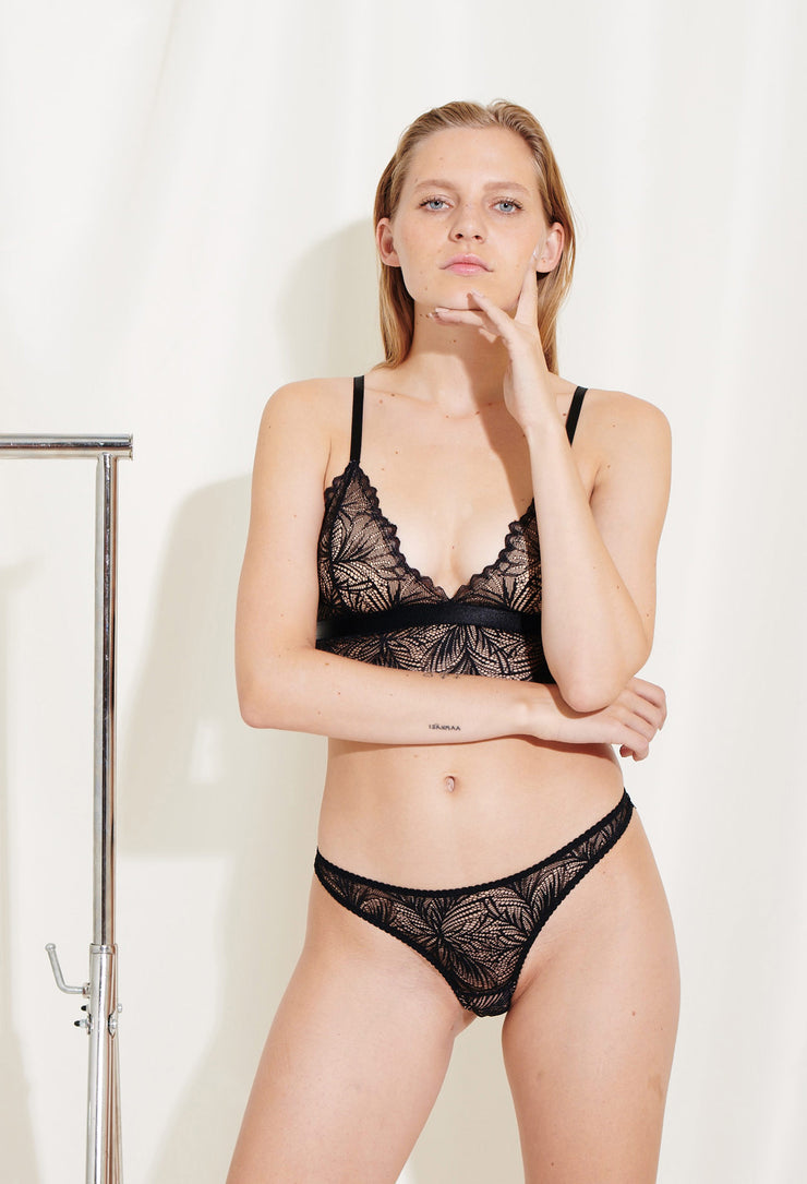 Our elegant Lima Bralette is made in lace with scalloped edges and beige lining. Sustainable underwear.