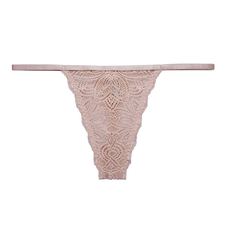 Our beautiful Luna String is made in soft recycled nylon lace with delicate scalloped edges paired with a thin waist elastic