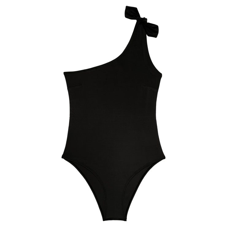 The elegant asymmetrical Manon Swimsuit is made in our soft recycled polyester fabric. Sustainable swimwear.