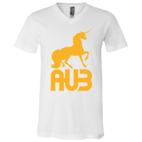 T-Shirt col V Unisexe - Athletic Gold Unicorn