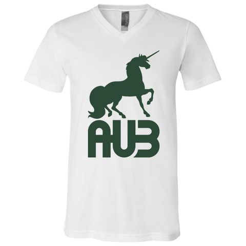 T-Shirt col V Unisexe - Forest Green Unicorn