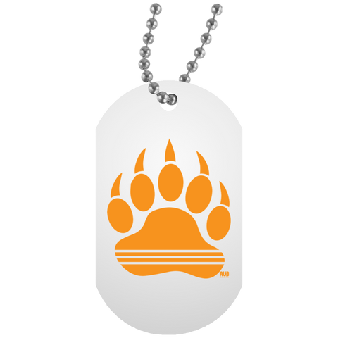 Collier Dog Tag - Orange Bear Paw