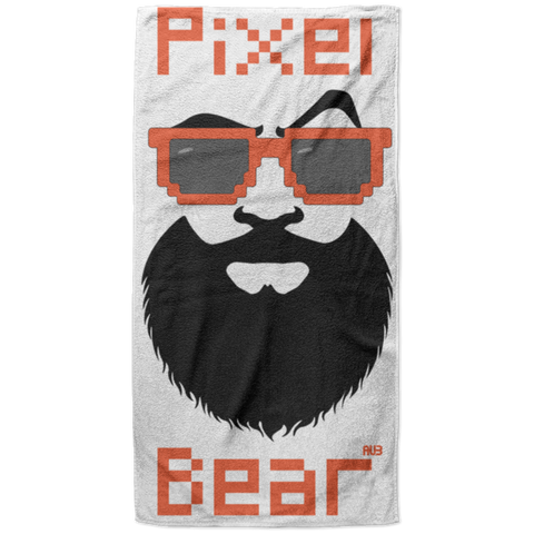 Serviette de plage King Size - Orange Pixel Bear
