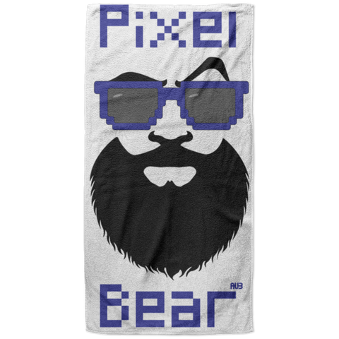 Serviette de plage King Size - Dark Blue Pixel Bear
