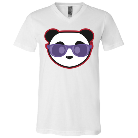 T-Shirt col V Unisexe - Stuffed Purple Beach Panda