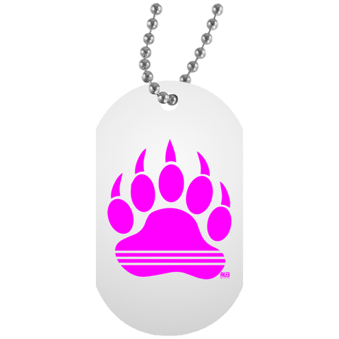 Collier Dog Tag - Pink Bear Paw