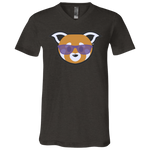 T-Shirt col V Unisexe - Purple Beach Red Panda