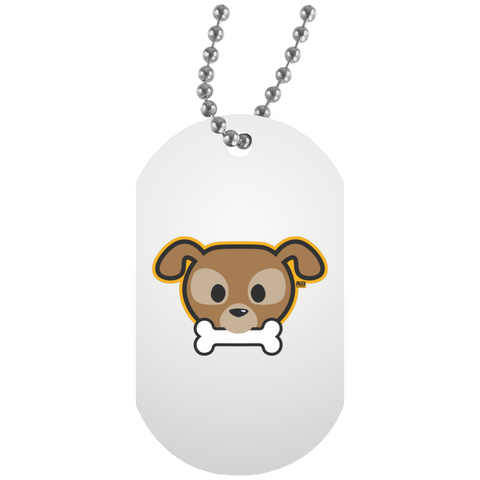 Collier Dog Tag - Stuffed Puppy With Bone