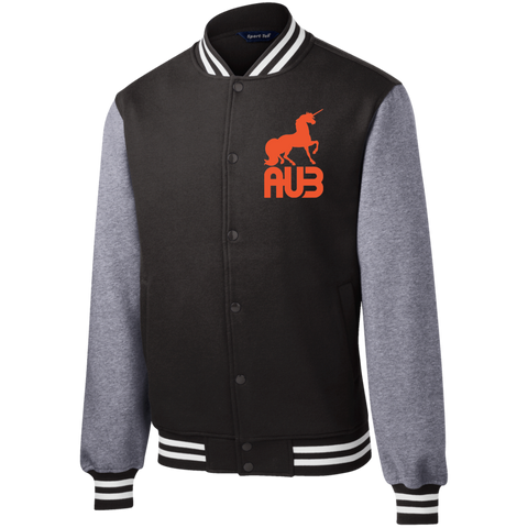 Veste Teddy Homme Brodée - Orange Unicorn