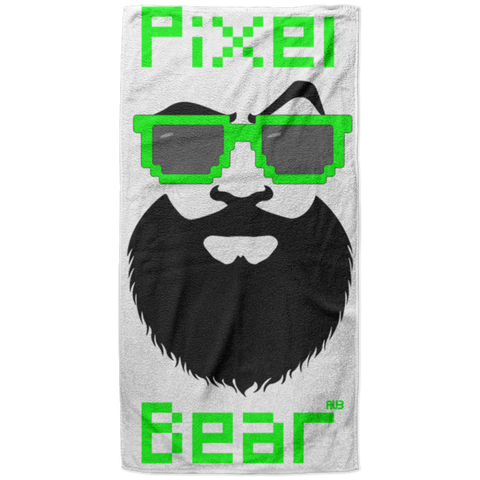 Serviette de plage King Size - Green Pixel Bear