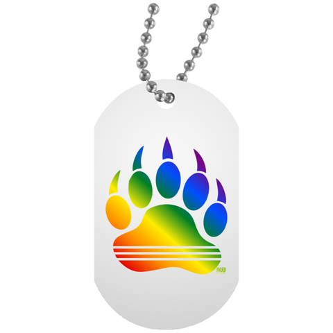 Collier Dog Tag - Rainbow Bear Paw