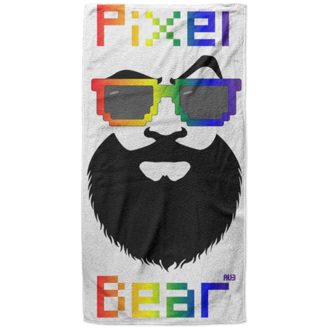 Serviette de plage King Size - Rainbow Pixel Bear