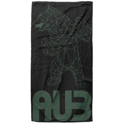 Serviette de plage King Size - Black Forest Green Origami Bear