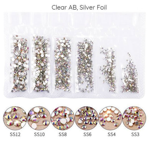 Mega Pack Rhinestones, Crystal AB, Silver Bottom