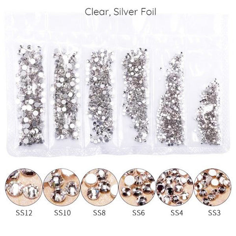 Mega Pack Rhinestones, Crystal, Silver Bottom