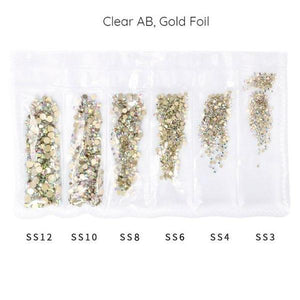 Mega Pack Rhinestone, Crystal AB, Gold Bottom