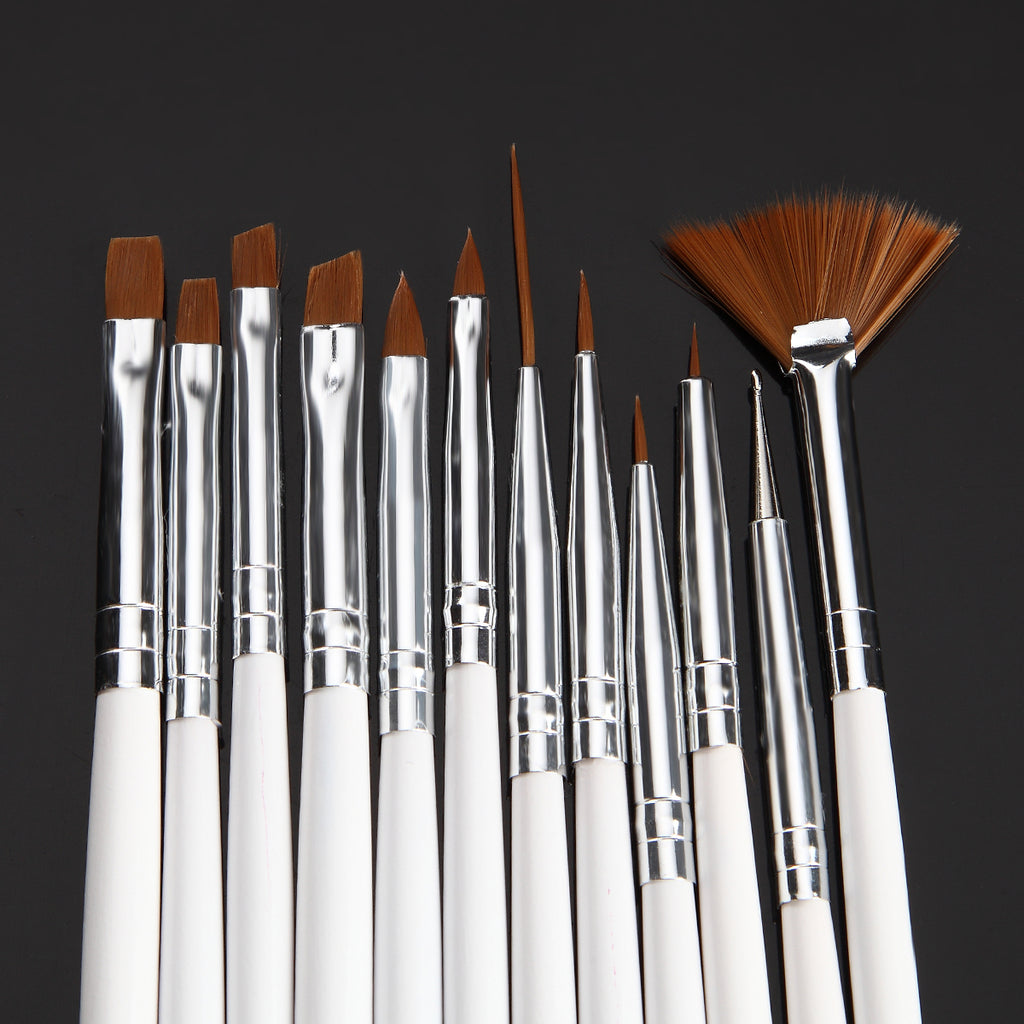 Assorted Brushes, Wood Handle, 12 Piece Set