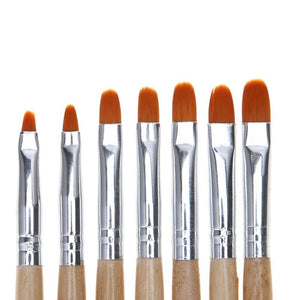 Gel Brushes, Wood Handles, 7 Piece Set