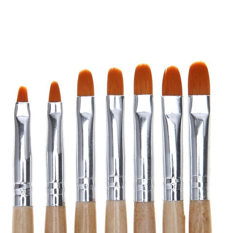 Image of Gel Brushes, Wood Handles, 7 Piece Set