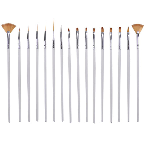 Assorted Brushes, Wood Handles, 16 Piece Set