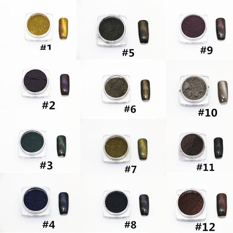 Cats Eye Magnetic Pigment, 12 Jar Set #1