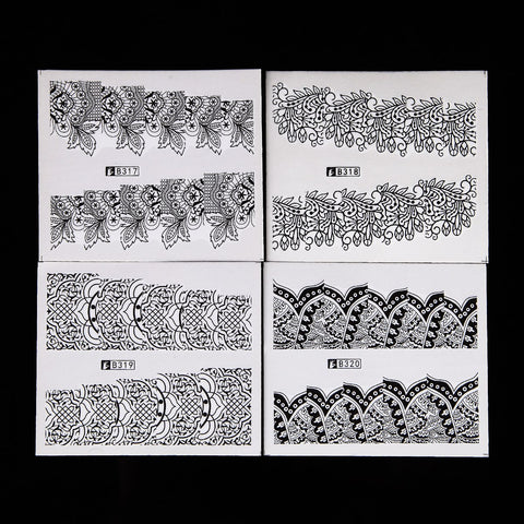 Black Assorted Full Cover, Water Transfer Decals, 48 Sheets