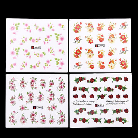 Floral Water Transfer Decals, 50 Sheets