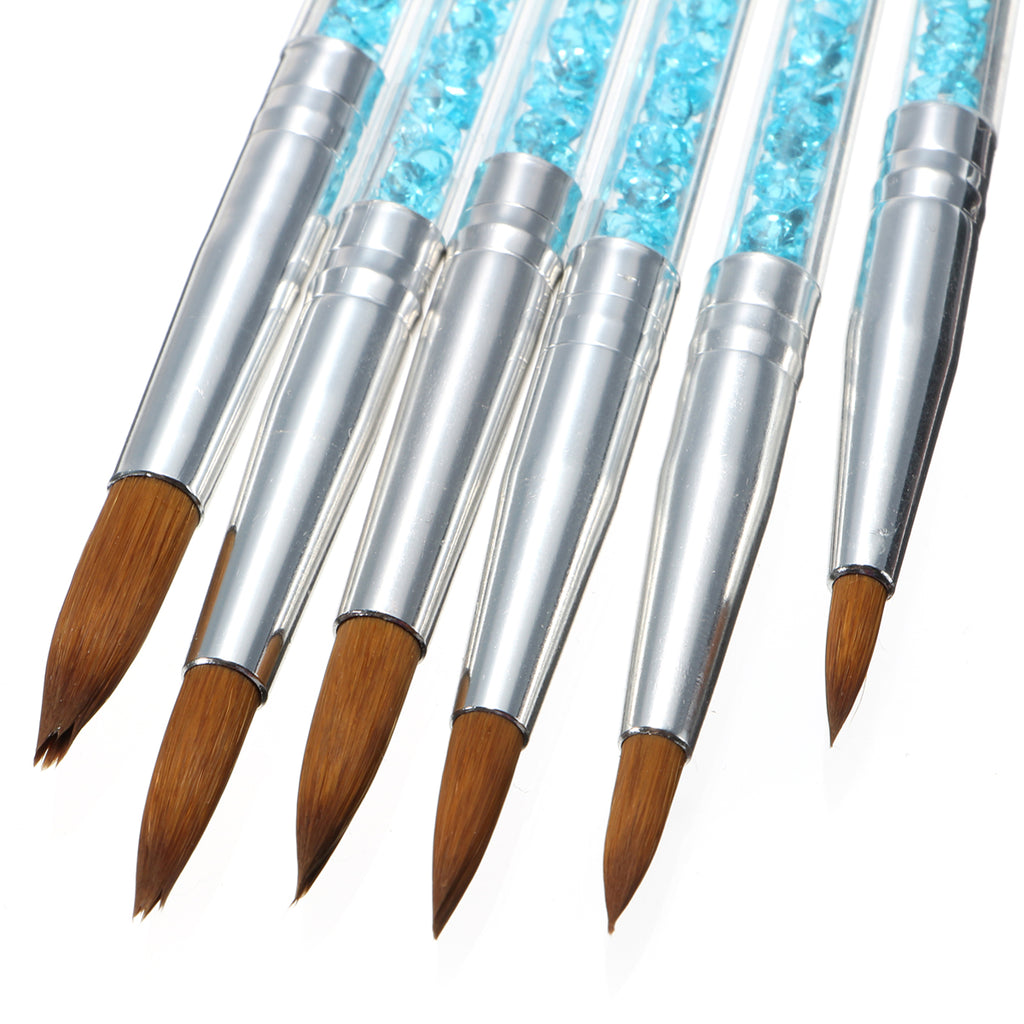 Acrylic Brushes, Rhinestone Handles, 6 Piece Set
