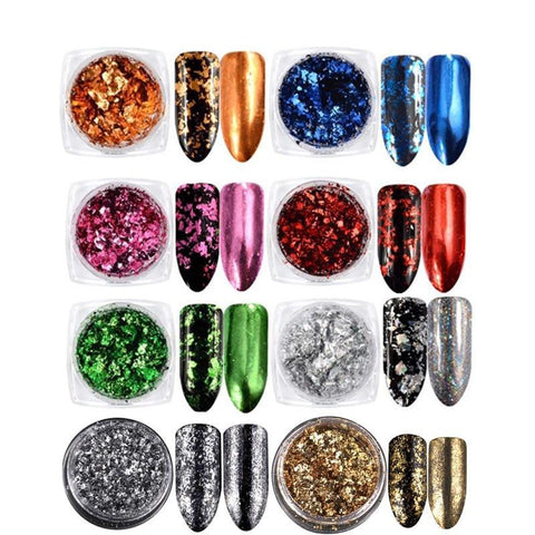 Nail Art Foil Flakes, 8 Jar Set