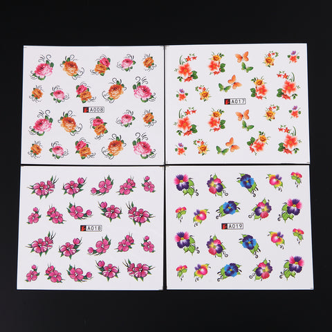 Flowers & Assorted Water Transfer Decals, 50 Sheets