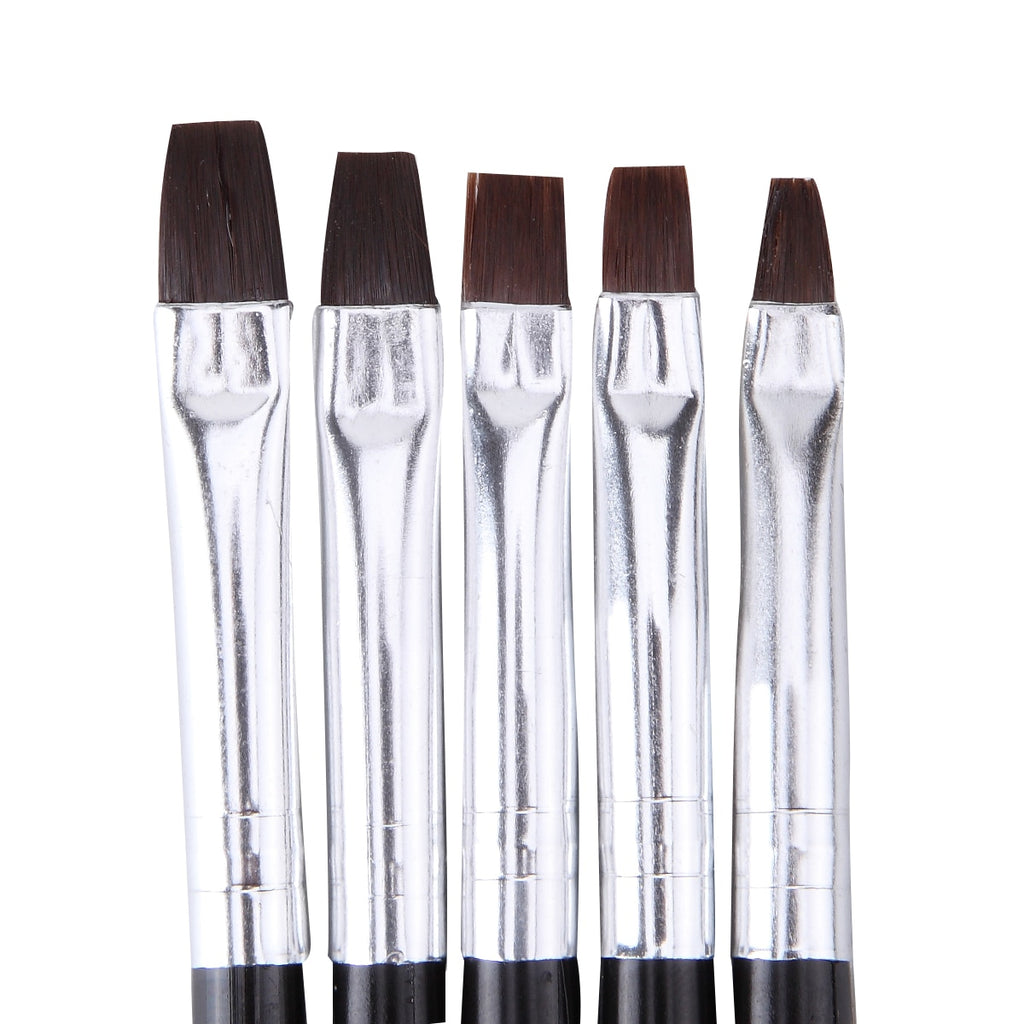 Square Gel Brushes, Black Handle, 5 Piece Set