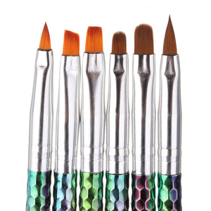 Gel Brushes, Rainbow Handles, 6 Piece Set