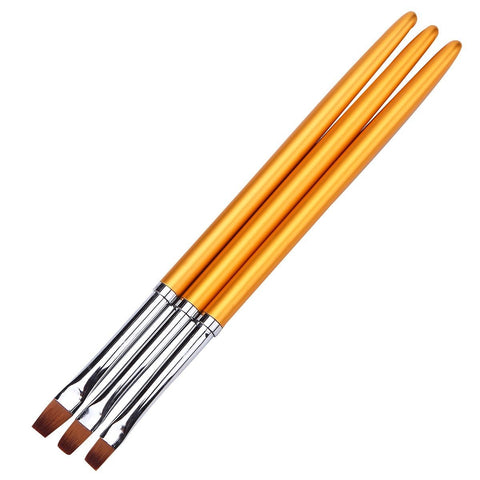Image of Square Gel Brushes, Gold Metal Handles, 3 Piece Set