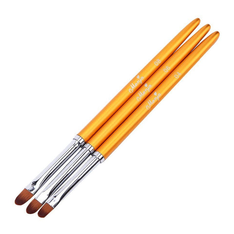 Image of Round Gel Brushes, Gold Metal Handles, 3 Piece Set