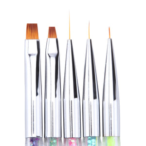 Brush & Dotting Tools, Glitter Handles, 5 Piece Set